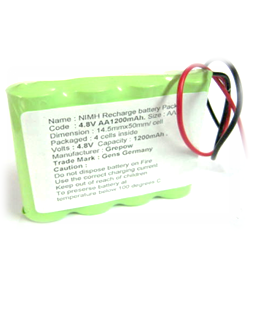 Pin sạc 4.8v-AA1200mAh, Pin sạc công nghiệp NiMh-NiCd 4.8v-AA1200mAh
